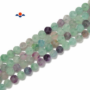 Fluorite Matte Football Faceted Round Beads Size 10mm 15.5'' Strand (10mm)
