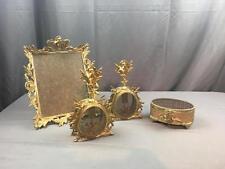 VntG Ladies Vanity Filigree & Cherub Perfume Bottles Frame Box 24K Gold Plated