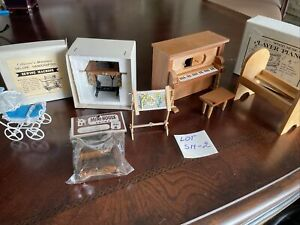 dollhouse miniatures 1:12 furniture lot, Piano,crib,stroller, Vintage New