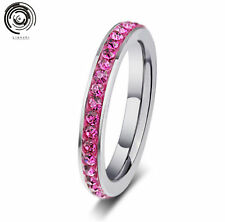 Stackable Band Ring 4MM woman Crystal Stainless Steel Jewelry size 7.8.9.10.11