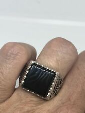Vintage 925 Sterling Silver Real Black Onyx Egyptian Size 12 Ring