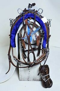 NEW OILY LEATHER QUICK HITCH HARNESS SET BROWN AND BLUE COMBINATION PONY SIZE