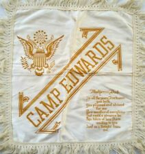 Camp Edwards Massachusetts Ww2 Wwii Military Pillow Sham Cover Silk Us Army Vtg