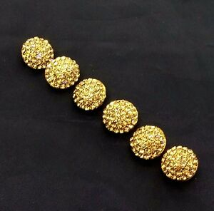 Antique Gold Metal Buttons Dome Shank Buttons Bling Fashion Sewing Craft by 6 pc