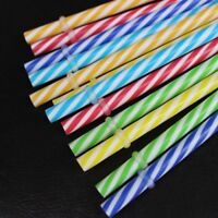 Colorful 20px Reusable Plastic Stripe Drinking Straw Clean Wedding-Party Supply