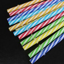 Colorful Reusable Plastic Stripe Drinking Straw Clean Wedding Party Supply 20PCS