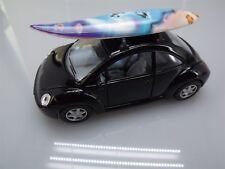 "Collectible Die Cast BLACK Volkswagen ""NEW BEETLE"" VW 1:32 Scale SURFBOARD"