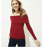 Ann Taylor Loft Womens Ribbed Off The Shoulder Top Sz XL Red Long Sleeve