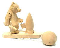 Antique Bear Painting A Rocket Russian HandCarved Folk Art Wood Movable Toy 1969