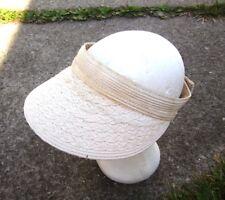 NINE & COMPANY beige women's sun visor Nine West textured shade hat tennis 1990s