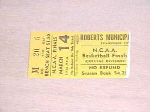 1968 NCAA Semifinals Basketball Ticket Division II Indiana State Trinity Texas