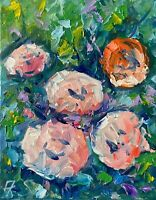 FLOWERS Oil Painting Impressionism Still Life Collectable Modern Texture