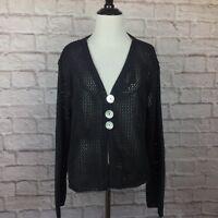 Captiva Road Cardigan Sweater Women Medium Black Boxy Loose Knit