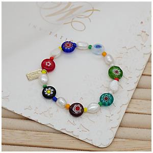 New Arrival Handmade Freshwater Pearl With Millefiori Glass Beads bracelet