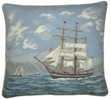 "16"" x 18"" Handmade Wool Needlepoint Petit Point Sail Boat Ship Pillow"
