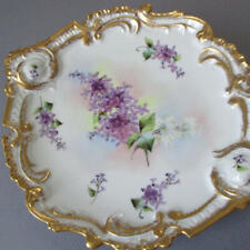 Antique Limoges Porcelain Hp Cabinet Plate Purple + White Lilacs Lush Gilt Trim