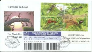 BRAZIL 2013 Brazilian FAUNA: ANT Insects on REGISTERED FDC