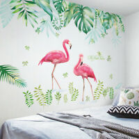 Flamingo Tropical Leaves Removable Wall Stickers Decals Wallpaper for Home Decor