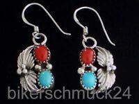 Echt Navajo Indianerschmuck 925 Silber Damen Ohrringe Türkis Koralle hochwertig