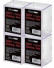 4 Ultra Pro 100+ Clear Gaming Box Stackable 2 Piece Slide-In Deck Box MTG