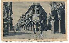 1934 Torino Via Pietro Micca tram auto d'epoca Guller Lucca FP B/N VG ANIM