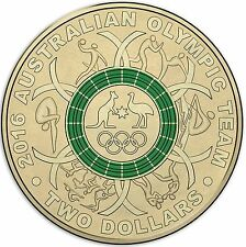 Australian Two Dollar $2 coin - 2016 - Rio Olympic Games - GREEN - RAM Mint Bag