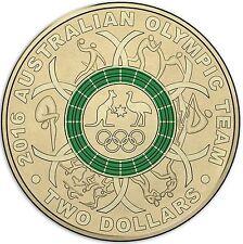 Australian Two Dollar $2 coin - 2016 - Rio Olympic Games - GREEN - circulated