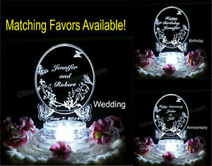 Personalized Butterfly Oval LED Wedding Anniversary Birthday Cake Top Acrylic