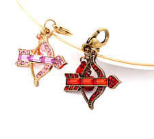 Vintage Cupid's bow arrow heart shoe phone car bag key ring keyring 2 colours