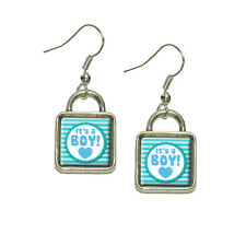 It's A Boy Baby Dangling Drop Square Charm Earrings