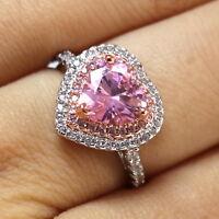 Pink Sapphire Moissanite Engagement Ring Women Wedding Anniversary Jewelry Gift