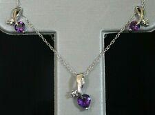 NEW Heart Amethyst & Diamond Stud Post Earrings / Necklace / Set 10K White Gold