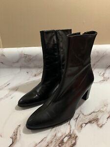 Robert Clergerie Ankle Boot Bootie Black Leather Side Zip Block Heel Size 7.5 B