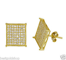 Micro Pave CZ Square Stud Earrings 14K Yellow Gold Clad Sterling Silver