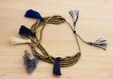 Bracelet Chic perles de rocailles avec pompons bijou ethnik bleu doré 1036 AJ