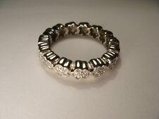 Gorgeous Estate 18K White Gold Floral Diamond Eternity Wedding Band Ring