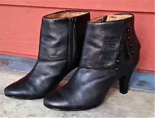 """Elegant SOFFT Smooth BLACK Leather Side ZIP ANKLE Boot BOOTIE Size 8 M 3"""" Heel"""