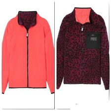 Victoria's secret Pink Reversible Sherpa Full Zip Jacket Coral Leopard Large NWT