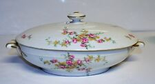 Theodore Haviland Limoges France Pink Floral Oval Covered Vegetable Serving Bowl
