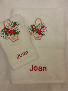 PERSONALISED BASKET OF FLOWER TOWEL SET CHRISTMAS GIFT HAND TOWEL AND FACE CLOTH
