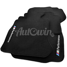 BMW 1 Series E82 Black Floor Mats With M Performance Logo With Clips RHD UK NEW
