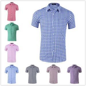 Mens Dress Shirts Short Sleeves Slim Fit Plaids Check Button Down Shirts Tops
