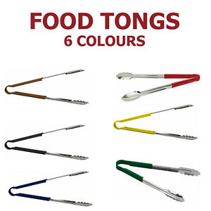 Stainless Steel Food Tongs with Coloured Non Slip Handles FREE UK SHIPPING