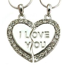 I Love You Heart Two Pendant Necklace Clear Crystal Stone Teens Kids Women Charm
