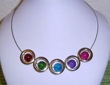 EDELSTAHL Halsreif BUNTE Crackle GLAS Perlen in silber Acryl Rahmen