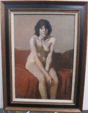 Sitting Female Nude with Arms Crossed Oil Painting-1967-Burt/Burton Silverman