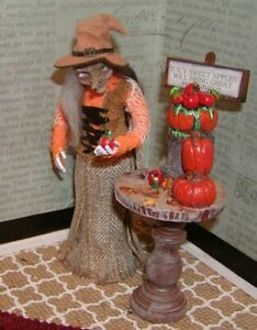 Dollhouse Miniatures Halloween OOAK Pinocchio Witch-Juicy Sweet Apples...