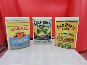Nostalgic Tins Shamrock Tea, Gourmet Cocoa, & Coffee Tins