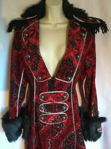 Theatrical Coat panto principle boy red black and silver pirate 18th c prince 14