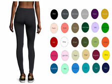 "34"" Inseam Cotton Spandex Yoga High Waist Full Length leggings S-5X 30 Colors"